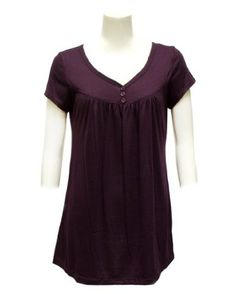 Ladies  Purple Buttoned V-Neck Short Sleeve Top: Clothing