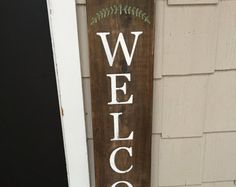 Front Porch Black Wood Sign Front Porch Welcome by RedRoanSigns