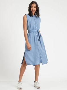 TENCEL™ Shirtdress   Banana Republic Black Tank Dress, Striped Shirt Dress, Denim Shirt Dress, Summer Dresses For Women, Spring Dresses, Women's Dresses, Summer Wedding Outfits, Fashion Now, Classy Casual