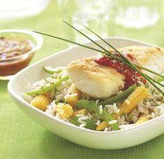 Kabeljauw met gebakken rijst en Provençaalse saus