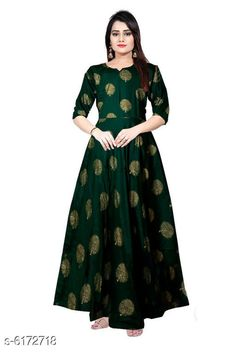 Checkout this latest Gowns Product Name: *Sensational Women's Rayon Gown* Fabric: Rayon Sleeve Length: Three-Quarter Sleeves Pattern: Printed Set Type: Single piece Stitch Type: Stitched Multipack: 1 Sizes:  M (Bust Size: 38 in, Length Size: 52 in)  L (Bust Size: 40 in, Length Size: 52 in)  XL (Bust Size: 42 in, Length Size: 52 in)  XXL (Bust Size: 44 in, Length Size: 52 in)  Free Size Country of Origin: India Easy Returns Available In Case Of Any Issue   Catalog Rating: ★4 (1924)  Catalog Name: Women's Printed Dresses & Gowns CatalogID_941948 C79-SC1289 Code: 463-6172718-798