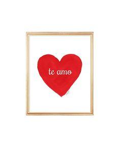 Te Amo Spanish Quote 8x10 Watercolor Heart by OutsideInArtStudio