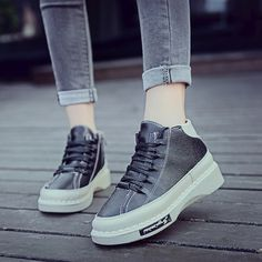 (29.35$)  Watch here  - 2017 spring autumn ankle boots heels shoes platform women casual shoes martin boots high top shoes black grey Winter boots Botas