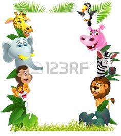Ilustración de dibujos animados de animales con la muestra en blanco Foto de archivo