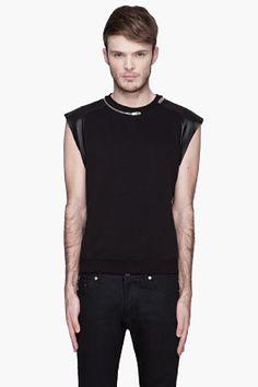 Saint Laurent Black Leather-paneled Zippered Sleevless Sweater for men   SSENSE
