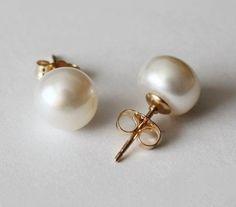 8.5 mm AAA gold filled genuine pearl earring studs, Pearl stud earrings, 14K Gold filled stud earrings, Bridesmaids earrings, Birthday gift