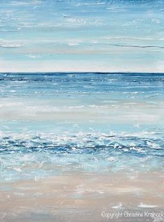"""Life's a Beach"" Blue Abstract Painting Giclee Print / Canvas Print of Original Art Painting, Expressionist Abstract Seascape. Stunning, as the details and layers of paint seem to take on the depth, serene colors & reflection of the coast & sea. Modern, California, coastal, gallery fine art. Beautiful organic, ocean seascape, landscape, contemporary, large, wall art, perfect for contemporary coastal style / urban farmhouse home decor. Modern palette knife painting with serene blue, sea foam…"
