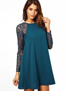Shop Blue Contrast Lace Long Sleeve Chiffon Dress online. Sheinside offers Blue Contrast Lace Long Sleeve Chiffon Dress & more to fit your fashionable needs. Free Shipping Worldwide! $28.83
