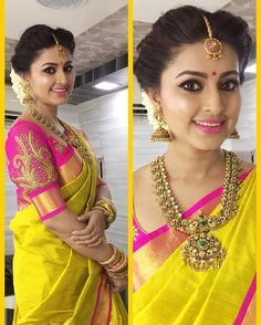 South Indian bride. Gold Indian bridal jewelry.Temple jewelry. Jhumkis. Yellow silk kanchipuram sari with embroidered pink blouse.braid with fresh jasmine flowers. Tamil bride. Telugu bride. Kannada bride. Hindu bride. Malayalee bride.Kerala bride.South Indian wedding.