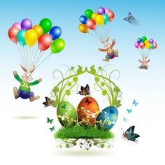 Colorful easter elements with rabbits Free Vector