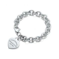 Engraved Heart Tag Tiffany Silver Bracelet 7.0 Long