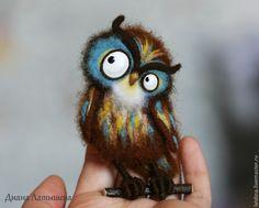 Felt Owls, Felt Birds, Felt Animals, Needle Felted Owl, Owl Bags, Needle Felting Tutorials, Felt Material, Owl Crafts, Brooches Handmade