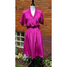 Fuschia Pink Midi Dress, Full Skirt, Button down, Silky Feel, Elastic waist, 50s style made in the 80s, Short sleeves, Popovitch by Have2Shop on Etsy