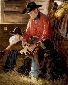 ORIGINAL: 40 x 30 inches, Oil on Linen Sold at Prix de West, National Cowboy and Western Heritage Museum Larry Sandvick and his son Dylan with their dog Emma O Cowboy, Arte Country, Country Life, Heritage Museum, Mary Cassatt, West Art, Old Dogs, Mountain Man, Old West