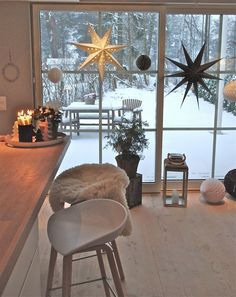 wintery white + wood open kitchen