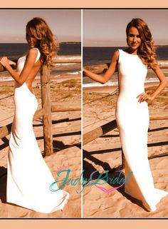 JDP017 Simple sheath backless wedding dress