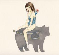 giclee bear print // deerface