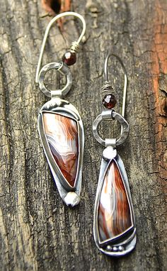 Sterling Silver Crazy Lace Agate Earrings One of a by joykruse, $128.00