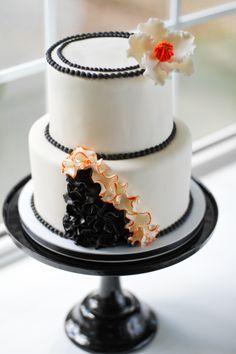 Orange and Black Ruffle cake