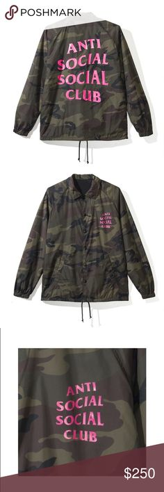 "34267605920c ANTI SOCIAL SOCIAL CLUB CAMO JACKET Summer 2018 collection☀ Pink ""windy""  logo"
