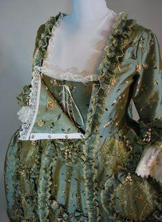 Kranz Robe à la Francaise: Wie es gemacht wurde – - Historical Clothing 18th Century Dress, 18th Century Costume, 18th Century Clothing, 18th Century Fashion, Antique Clothing, Historical Clothing, Historical Costume, Historical Dress, Vintage Dresses