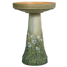 Burley Flowering Daisy Clay Bird Bath