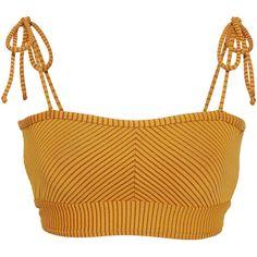 Made By Dawn Ribbed Bikini Top ($140) ❤ liked on Polyvore featuring swimwear, bikinis, bikini tops, yellow, swimsuit tops, yellow swimwear, yellow swimsuit top, yellow bikini top and swim tops