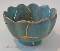 kintsugi repair gift - antique chines bowl with crackled celadon glaze for sale