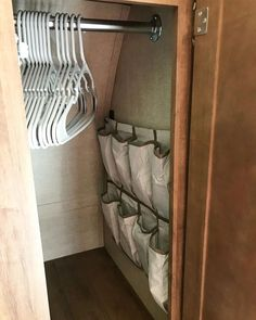 Love this extra organizational storage! 👚👕👖👔 We hung an over the door organizer (from @walmart ) in the bathroom to hold all of our toiletries. It was longer than we needed so we cut the bottom two rows off and hung them in our closet to hold socks and undergarments! . . . . . #rvideas @rvinspiration @rvideas #rvorganization #rvliving #closetorganizerwalmart