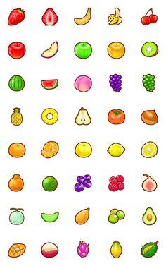 Cute Food Drawings, Mini Drawings, Cute Little Drawings, Notebook Drawing, Kawaii Background, Fruit Icons, Fruits Drawing, Doodle Tattoo, Cute Cartoon Images