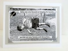 Vintage Photo Boy Hanging on Clothesline Handmade by metrocottage, $4.50