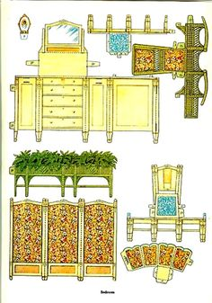 Cut and Assemble Paper Dollhouse Furniture by American Colortype Co. - Dover Publications, Inc., 1981: Page 13 (of 16) Pages 1, 6, 7, 8, 9, 10, 11 and 16 are actually rugs with 1/2 of a rug on each page for a total of 4                                                                                                                                                      More