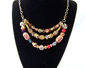 3 Tiered Amber Beaded Necklace $30.00