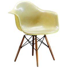 Eames PAW Herman Miller Zenith Parchment Dowel Leg Chair | From a unique collection of antique and modern office chairs and desk chairs at https://www.1stdibs.com/furniture/seating/office-chairs-desk-chairs/