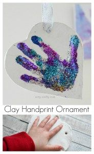 Beautiful Sparkly kids Handprint Ornament. Great for the Christmas tree or save it for valentines. Either way, it's simple enough for kids to actually make!