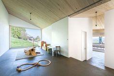 wood ceiling, white walls, crisp detailing