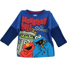 "Sesame Street ""Monster's Rule the Streets"" Blue Toddler Long Sleeve T-Shirt (2T) Sesame Street,http://www.amazon.com/dp/B00FN54VJ8/ref=cm_sw_r_pi_dp_N8eltb0QF1QKWFFH"