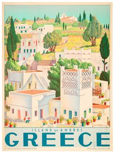 Tourism Poster - 1949 Vintage travel poster of island of Andros Greece designed by G. Moschos, travel poster of island of Andros Greece designed by G. Illustrations Vintage, Illustrations Posters, Andros Greece, Old Posters, Movie Posters, Greece History, Greek Decor, Greece Art, Pub Vintage