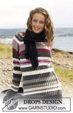 """Knitted DROPS jumper with stripes and raglan sleeve in """"Karisma"""". Size S - XXXL."""