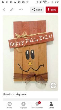 Pallet Crafts, Pallet Ideas, Diy And Crafts, Arts And Crafts, Fall Decorations, Fall Wreaths, Wreath Ideas, Happy Fall, Wood Design