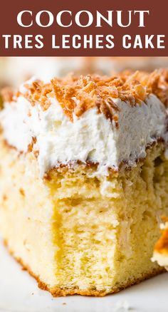 You all quickly fell in love with our chocolate tres leches cake, so today we're sharing a NEW version: Coconut Tres Leches Cake. This yellow sponge cake is soaked with three milks and has coconut flavor in the cake, in the milk soak and in the frosting. It's 100% from scratch and delicious! Coconut Tres Leches Cake Recipe, Chocolate Tres Leches Cake, Cupcake Recipes, Cupcake Cakes, Bundt Cakes, Cupcakes, Almond Cakes, Coconut Cakes, Sweetened Whipped Cream