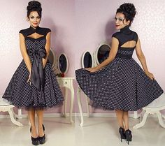 Sexy 50er Jahre Pin Up Vintage Rockabilly Kleid Tanzkleid / Petticoat Rock