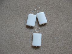 White onyx earrings and pendant set
