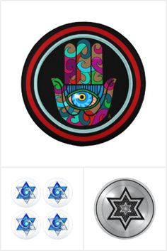 """#JUDAICA_BUTTON_COVERS COLLECTION  - Cool new #Button_Covers featuring my original digital designs with Judaica themes, including Stars_of_David (6-pointed star), #Chai symbol (Hebrew characters spelling """"Life""""), Hamish Hands (a.k.a.) #Hamsas, #All-Seeing_Eye (a.k.a.) """"Eye of Providence"""", & more! Sold exclusively at my online Zazzle shop #Jewbilee www.zazzle.com/jewbilee?rf=238155573613991097&tc=pnt"""