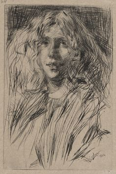 Jo, by James McNeil Whistler - drypoint - 1866 James Abbott Mcneill Whistler, Grabar Metal, Drypoint Etching, Etching Prints, Portraits, Art Plastique, Art Google, Gouache, Painting & Drawing