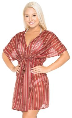 La Leela Chiffon Linear Cover up Deep V Neck Tunic Beach Robe Red * Insider's special review you can't miss. Read more  : Plus size bathing suits