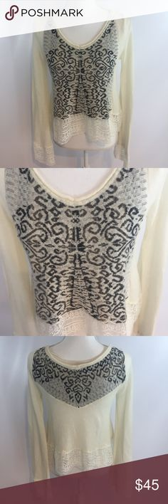 """Free People White&Black Lace sweater So cute! Excellent condition! Size small. Pit 17"""" Lenght 20"""" Free People Sweaters"""