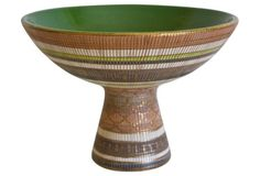 Midcentury Italian Bitossi Pedestal Bowl