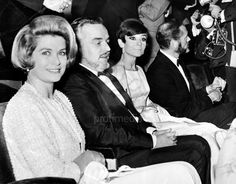 "The Princess Grace of Monaco with her husband Prince Rainier III photographed with the actress Audrey Hepburn and her husband Mel Ferrer at the Marigny Theatre during the Nuit du Cinema, when Audrey was awarded with the ""Victoire Award."