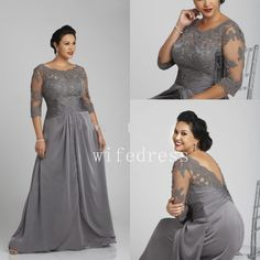 Plus Size Grey Mother Off Bride Dresses 2017 Sheer Neck Applique Open Back Gowns